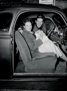 War Bride with Husband and Child in Automobile