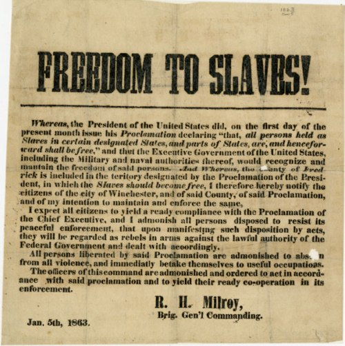 U.S. Brigadier General R. H. Milroy's Order to Citizens of Winchester and Frederick County, Virginia in Reference to the Emancipation Proclamation of President Abraham Lincoln, 01/05/1863
