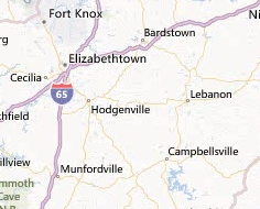 Bing map showing Hodgenville