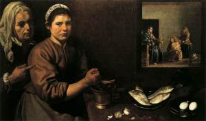 Velazquez, Christ in the House of Martha and Mary, London, National Gallery, c. 1620