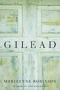 Cropped detail of me reading the novel Gilead.