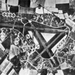 Attlebridge Airfield, 16 April 1946, with labels.