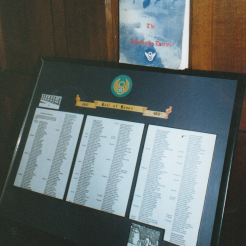 Framed documents displayed at the All Saints Church.