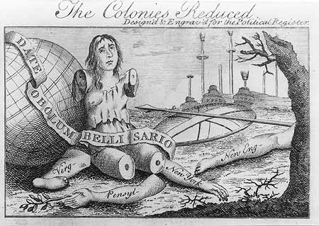 """The Colonies Reduced"" -- Franklin's political cartoon showing what Britannia would be without her colonies."