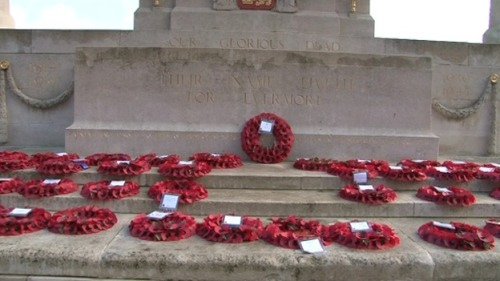 Poppy wreaths at Norwich's war memorial Credit: ITV Anglia