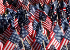 070911-N-4007G-008 SAN DIEGO (Sept. 11, 2007) - American flags bearing the names of victims from the terrorist attacks on the World Trade Center, the Pentagon and Flight 93 on Sept. 11, 2001, adorn a makeshift monument at the Balboa Park 2007 Freedom Walk. Service members and residents from the San Diego community showed their support through the walk to remember those who lost their lives on that day. U.S. Navy photo by Mass Communication Specialist 3rd Class Brian Gaines. (RELEASED)