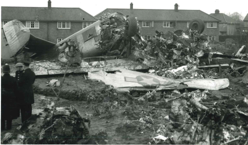 'LASSIE COME HOME' crashed at Mile Cross, Norwich on 14th Jan. '45 on return from Hollendorf. Eight of the crew and two children were killed.