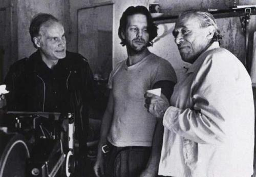 Writer Charles Bukowski, Actor Mickey Rourke and Director Barbet Schroeder on the set of the film.