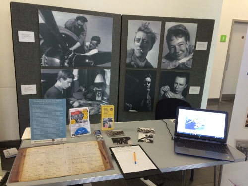 Our 2nd Air Division Memorial Library stand was all set up, complete with a laptop that provided access to our newly launched Digital Archive.