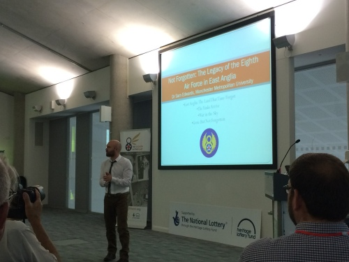 I had the opportunity to attend the opening talk given by Dr. Sam Edwards from Manchester Metropolitan University. It was a fascinating overview on the various ways we remember and commemorate the 8th USAAF in the East of England.