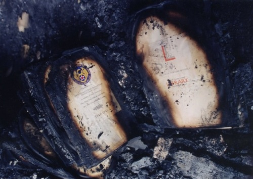 Charred remains of a Memorial Library book (from EDP website)